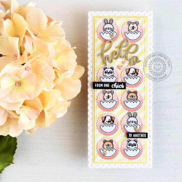 Sunny Studio Stamps: Scalloped Circle Mat Dies Chickie Baby Balloon Rides Slimline Dies Card by Candice Fisher