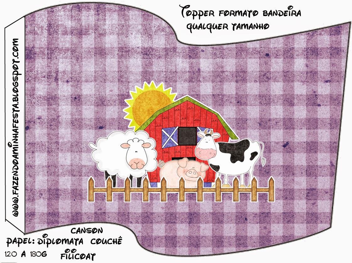La Granja con Fondo Morado: Imprimibles Gratis para Fiestas