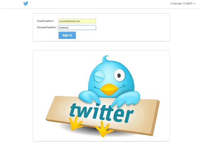 ادخال معلومات الى صفحة تويتر مزورة