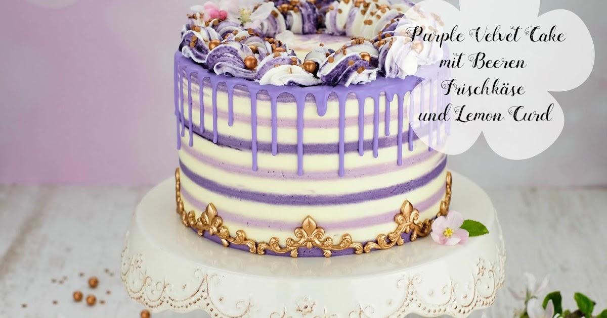 Lila Velvet Cake Mit Beeren Frischkase Und Lemon Curd Marion S Kaffeeklatsch