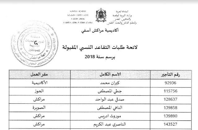 لائحة طلبات التقاعد النسبي المقبولة بأكاديمية مراكش آسفي