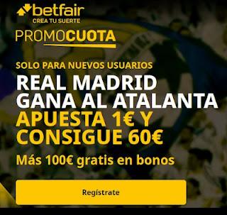 betfair promocuota Real Madrid gana Atalanta 13 marzo 2021