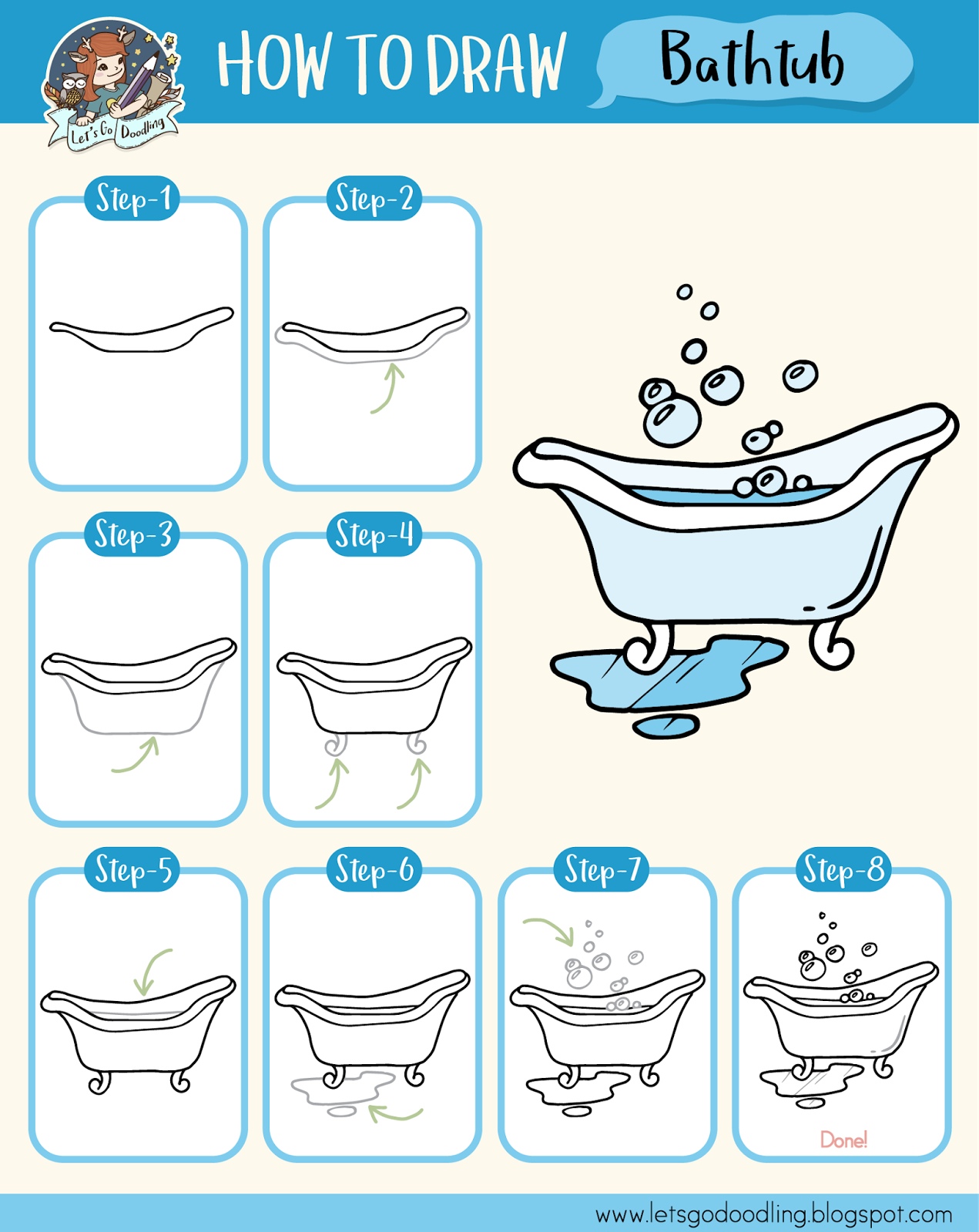 How To Draw Bathtub - Easy Step By Step Drawing Tutorial