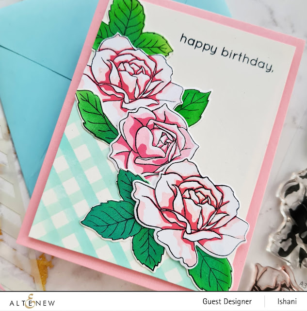 How to use layering stamps? Altenew Roses card, Embossing folder card, Craft your life Project kit - Garden rose, How to use embossing folder video tutorial,  Altenew Garden rose, Rose card, heat embossing with embossing folders,  Quillish, Ishani