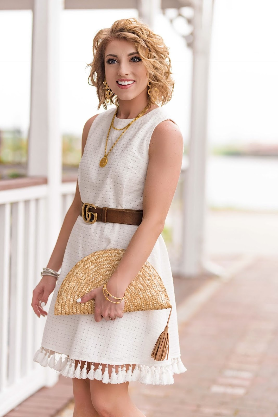 Tassel Hem White Dress + Gucci Belt - Something Delightful Blog