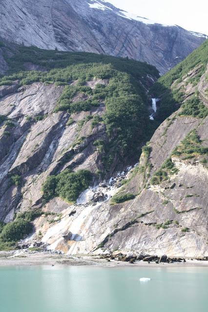 Waterfall in Alaska seen from cruise ship