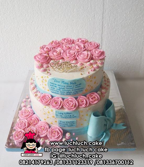 Kue Tart Tingkat Bunga Cantik Untuk Ibu