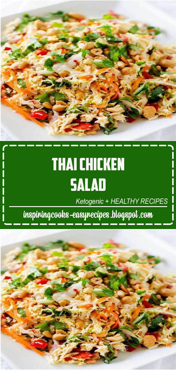 You are going to fall in love with this deliciously healthy Thai Chicken Salad! This crunchy chopped salad is perfect for meal prep and leftovers are great in wraps or on a sandwich. #ThaiChickenSalad #salad#saladrecipes
