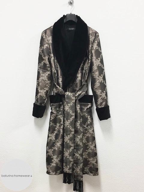 mens black velvet dressing gown paisley silk robe smoking jacket