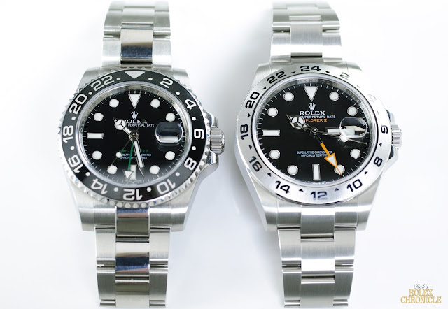 Photo of Rolex Explorer II and GMT-Master II Side by Side