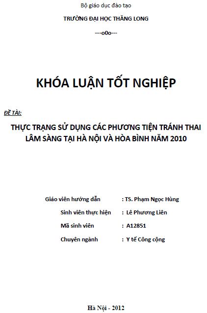 Thực trạng sử dụng các phương tiện tránh thai lâm sàng tại Hà Nội và Hòa Bình năm 2010