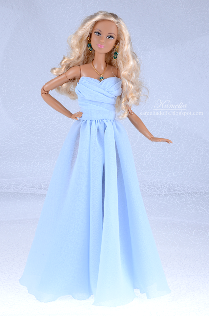 Sky blue bridesmaid chiffon dress for Barbie doll 1/6 scale