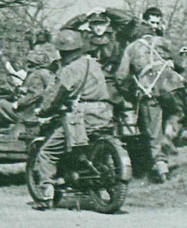 Photo of Flying Flea motorcycle with airborne troops at war.