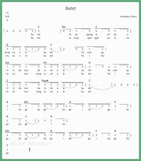 not angka lagu butet lagu daerah sumatera utara