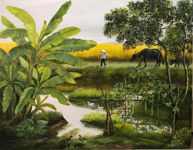 tranh sơn dầu thôn quê