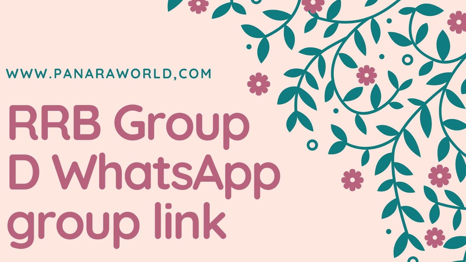 RRB Group D WhatsApp group link For New - Panaraworld