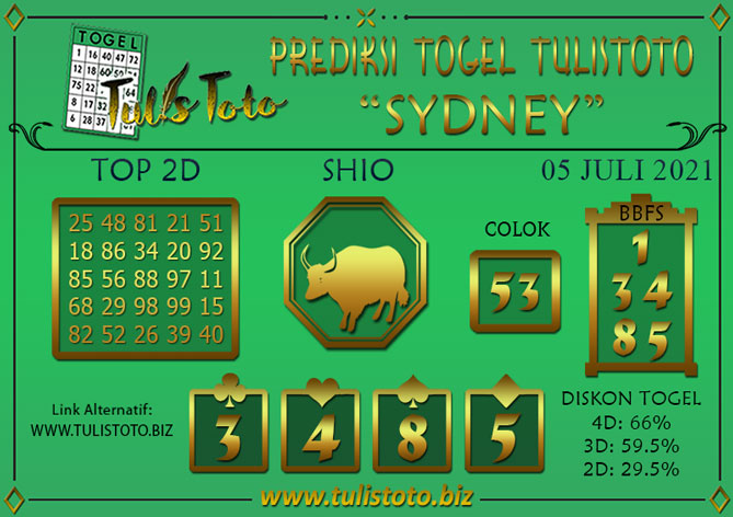 Prediksi Togel SYDNEY TULISTOTO 05 JULI 2021