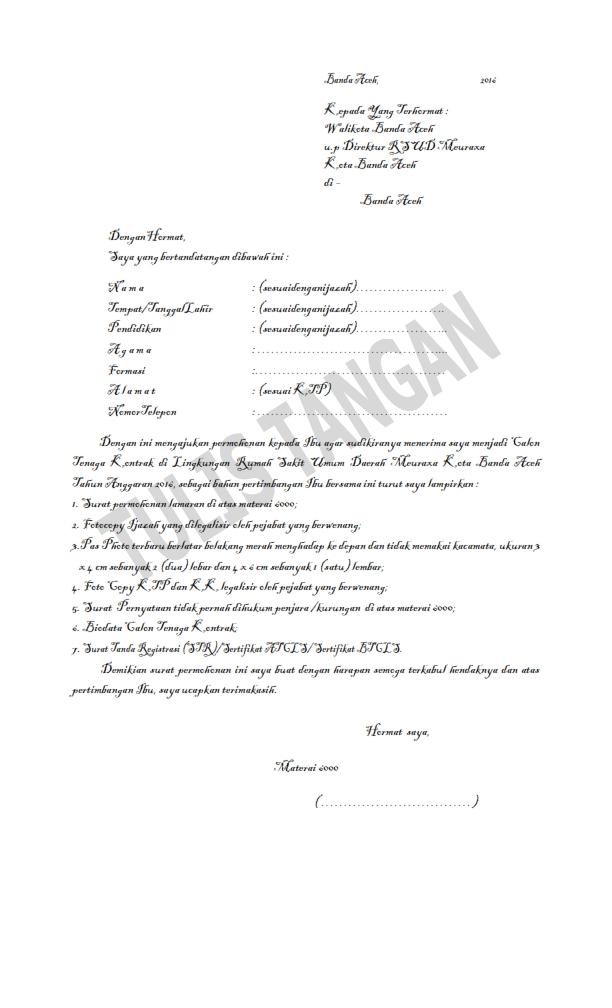 Contoh Surat Lamaran Kerja pada RSUD MEURAXA Banda Aceh