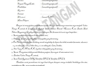Contoh Surat Lamaran Kerja, Contoh Curriculum Vitae, Contoh Surat Pernyataan untuk melengkapi Berkas Lamaran Kerja pada RSUD MEURAXA Banda Aceh