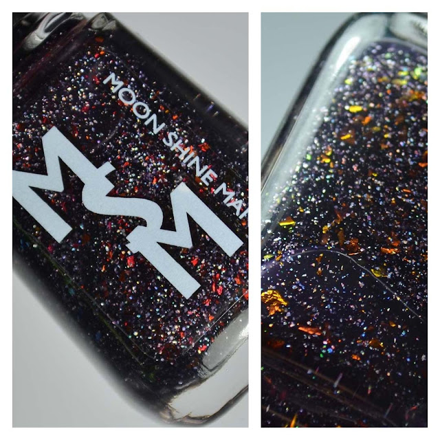 blackberry jelly nail polish with flakies in a bottle