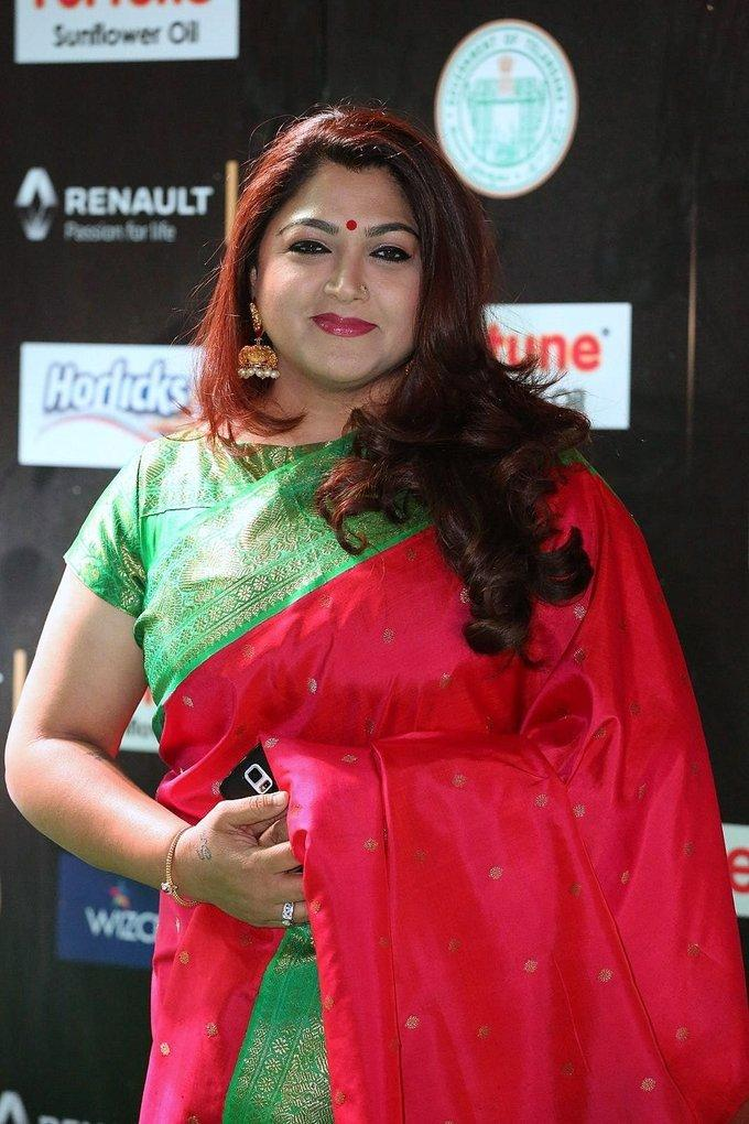 Kushboo Sundar at IIfa Utsavam Awards 2017 In Red Saree