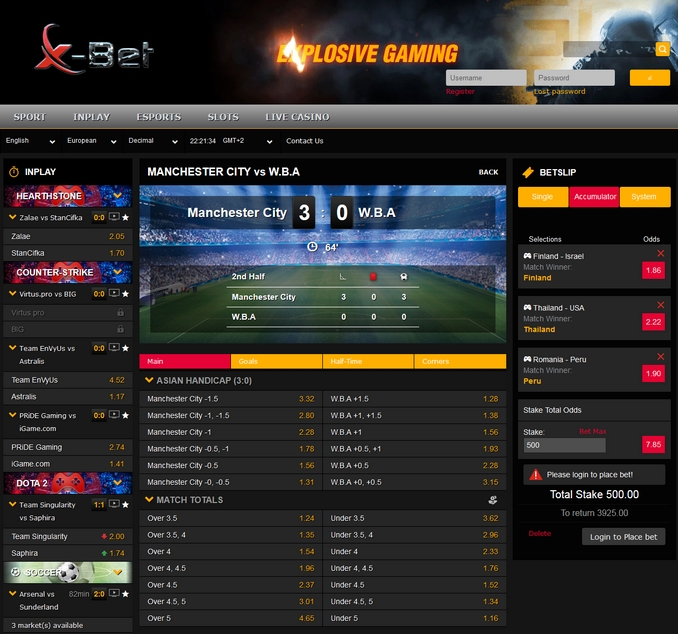 x-bet Live Betting Screen