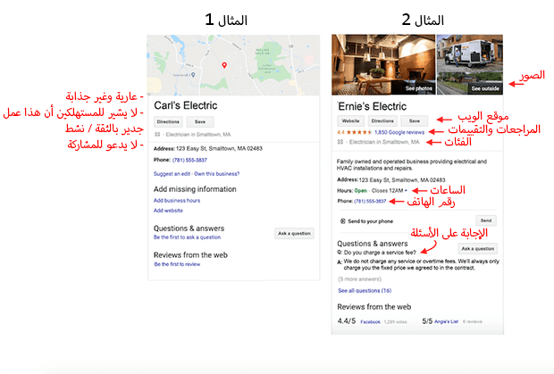 كيف يبدو الملف التجاري المحسن والجيد على Google؟