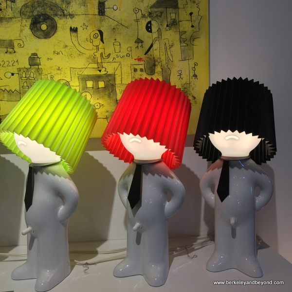 lampshades in gift shop at Lois Lambert Gallery at Bergamot Station Arts Center in Santa Monica, California