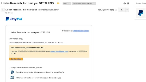 Received 17.92 US Dollars From Second Life