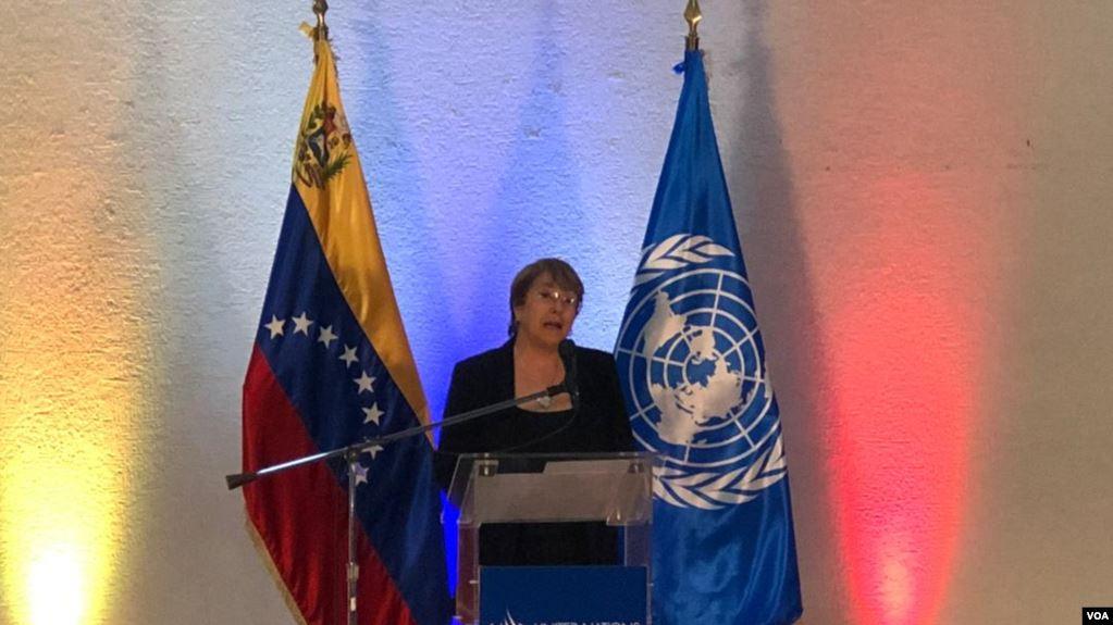 La Alta Comisionada de Derechos Humanos de la ONU, Michelle Bachelet, en rueda de prensa en Caracas, Venezuela. Junio 21, 2019. Foto: Alvaro Algarra / VOA