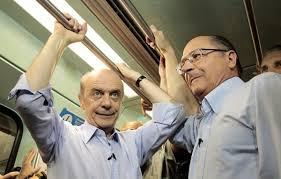 Jose Serra Careca e Geraldo Alckmin Santo do PSDB no metrô
