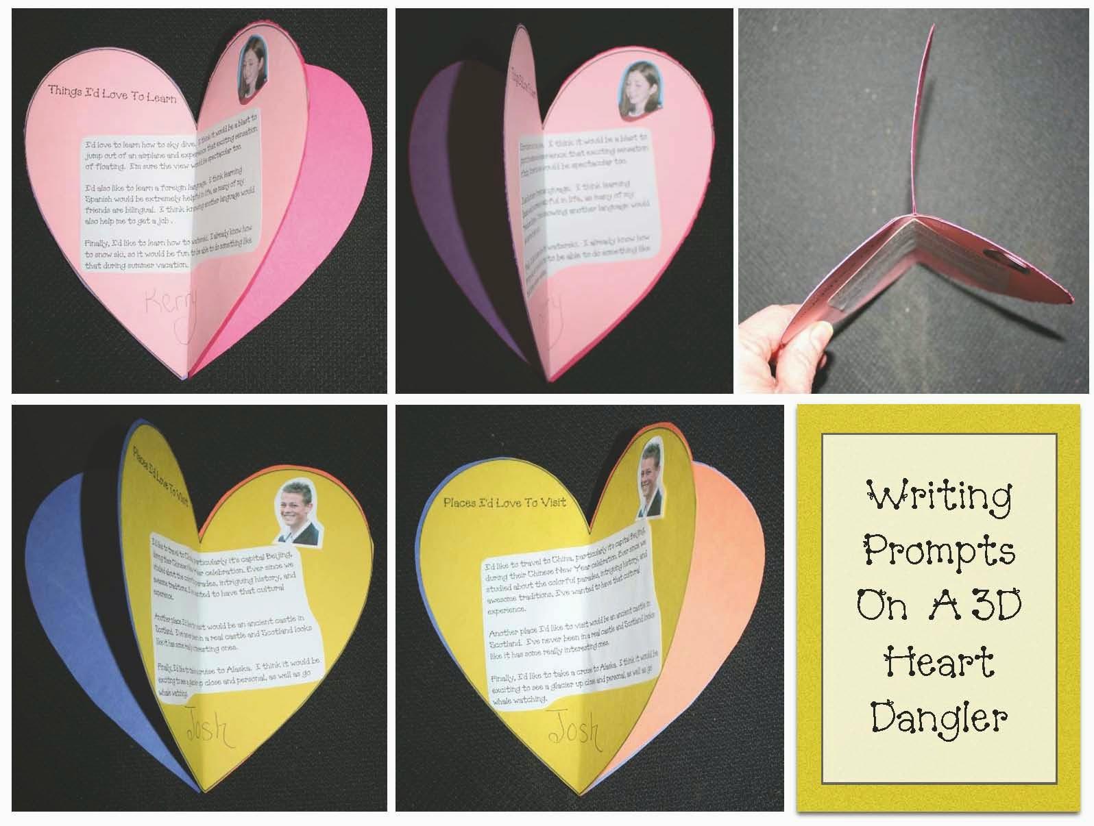 Classroom Freebies 3d Writing Prompt Heart Craft