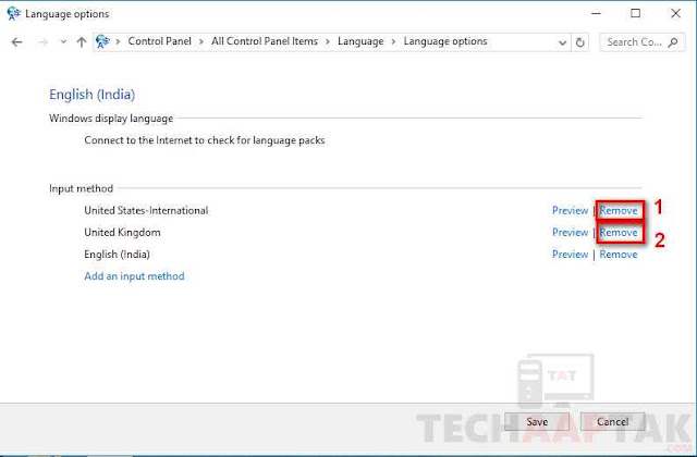 remove keyboard other then english (india)