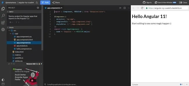 برامج تحرير الكود عبر الإنترنت لمساعدتك على البرمجة أثناء التنقل Stackblitz