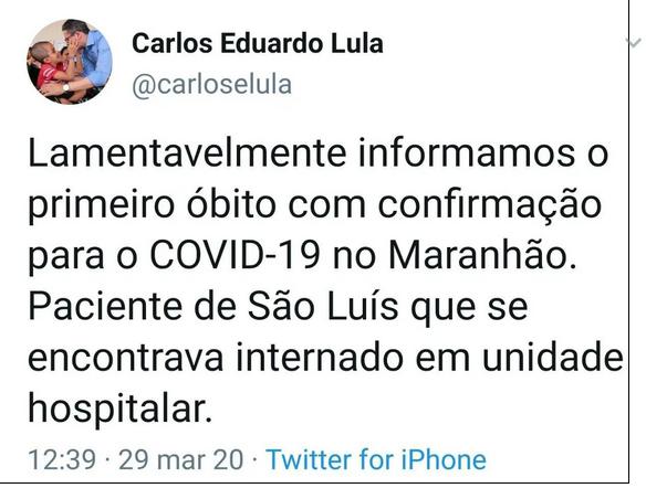 URGENTE! Governo do Maranhão confirma primeira morte por convid-9