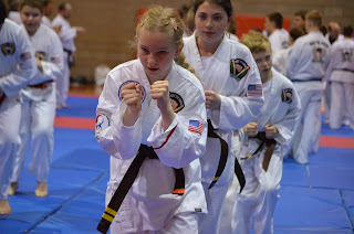 Children doing karate in a kid's karate program