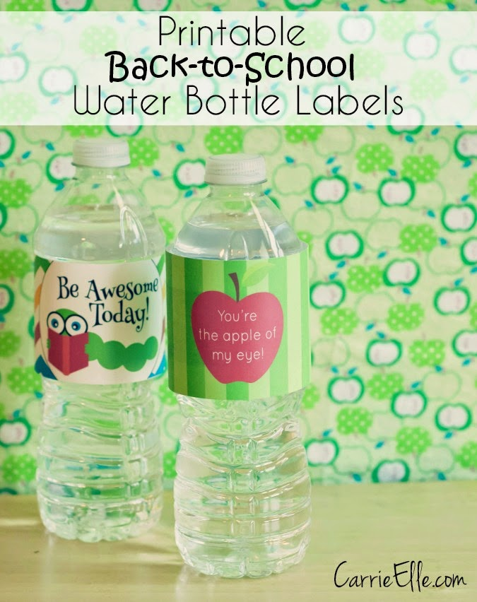 Printable Water Bottle Labels back to school