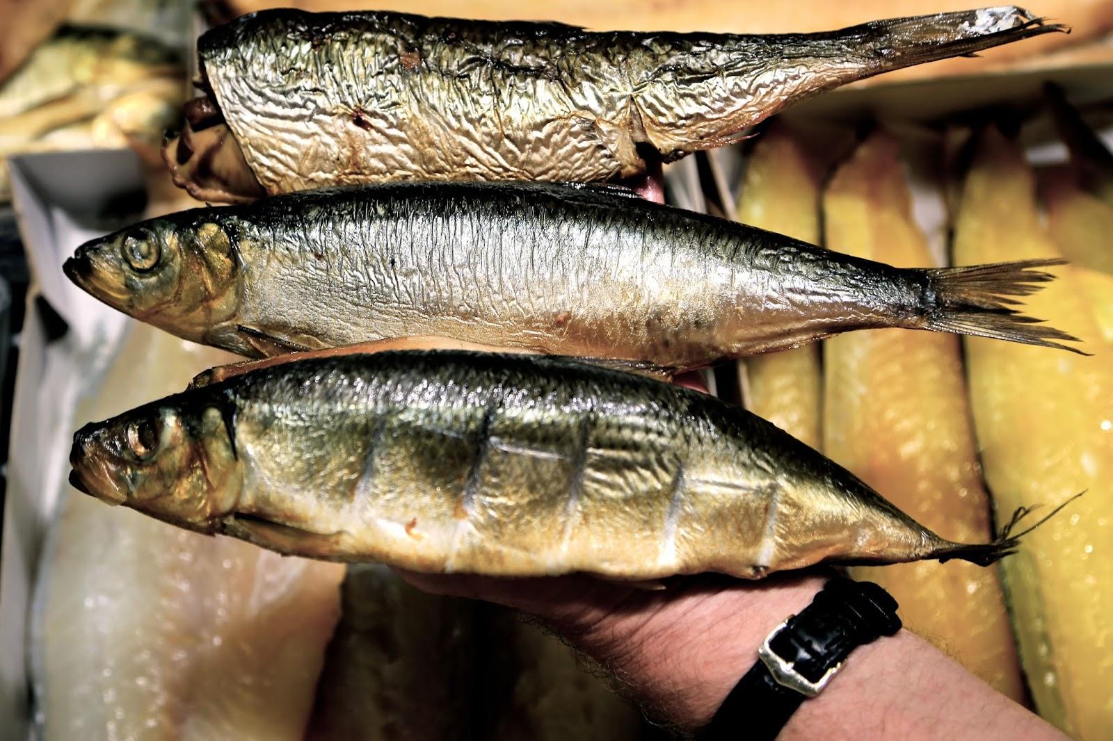 Buckler, bloater, herring. Billingsgate fish.