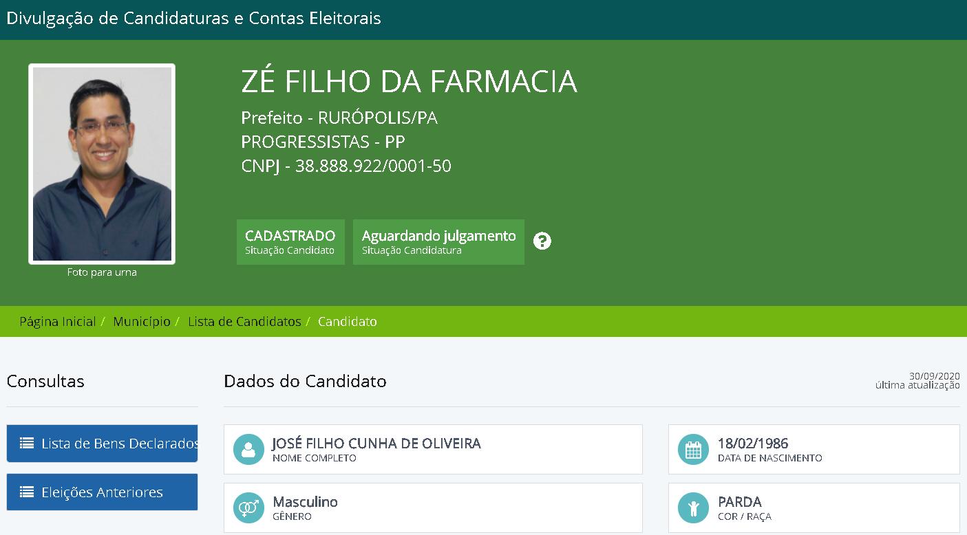 Eleição para prefeito em Rurópolis pode ter só 2 candidatos; MP pede saída do PP