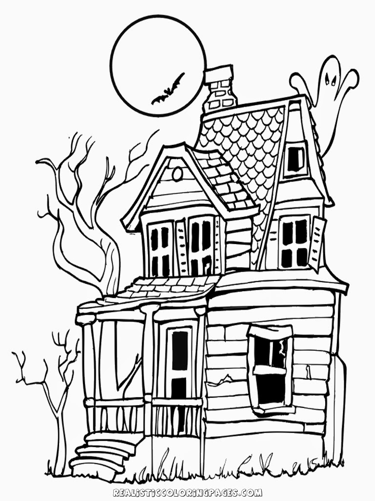 Halloween Haunted House Coloring Pages Realistic