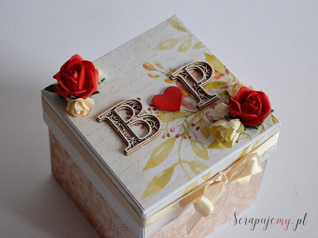 jesienna kartka ślubna, kartka pudełko na ślub, box na kupony tot olotka, jesienny box, prezent ślubny, spersonalizowany prezent, pudełko z inicjałami