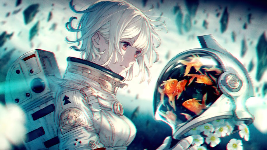 Anime, Girl, Astronaut, Goldfish, 4K, #6.2606