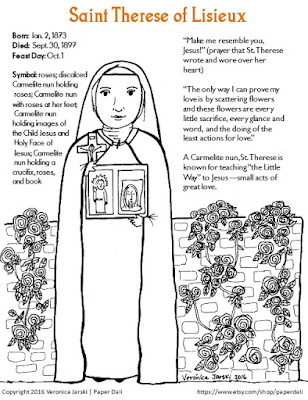 Paper Dali: Saint Therese of Lisieux Coloring Page [Free