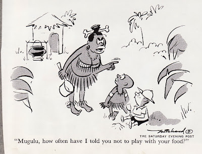 Funny cannibal joke cartoon - Mugulu, how often have I told you not to play with your food