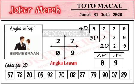 Prediksi Joker Merah Toto Macau JP Jumat 31 Juli 2020