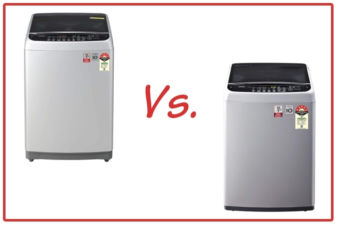 LG T80SJSF1Z (left) and LG T65SNSF1Z (right) Washing Machine Comparison.