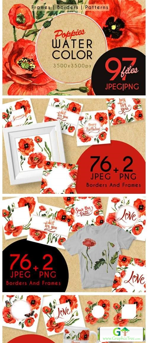 Stunning Poppies PNG Watercolor Set [Stock Image] [illustrations]