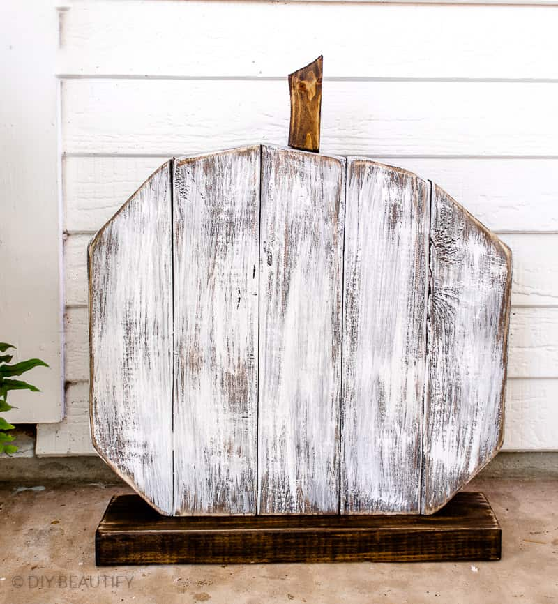 white washed wood pumpkin