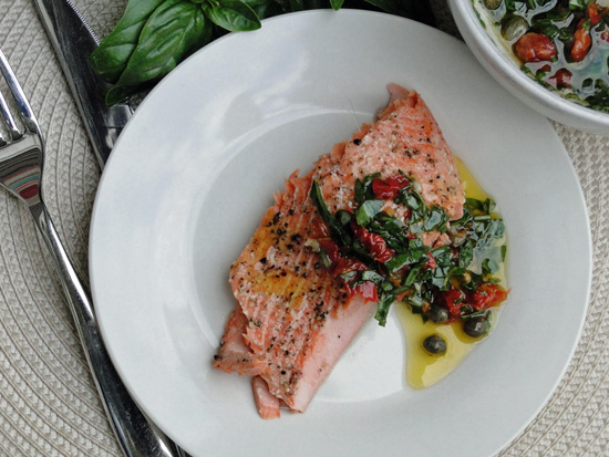 Salmon With Capers, Sun-Dried Tomatoes & Fresh Basil Vinaigrette