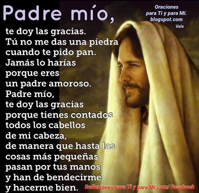 Padre mío, te doy las gracias porque soy tu hijo, y por eso ningún bien puede faltarme.